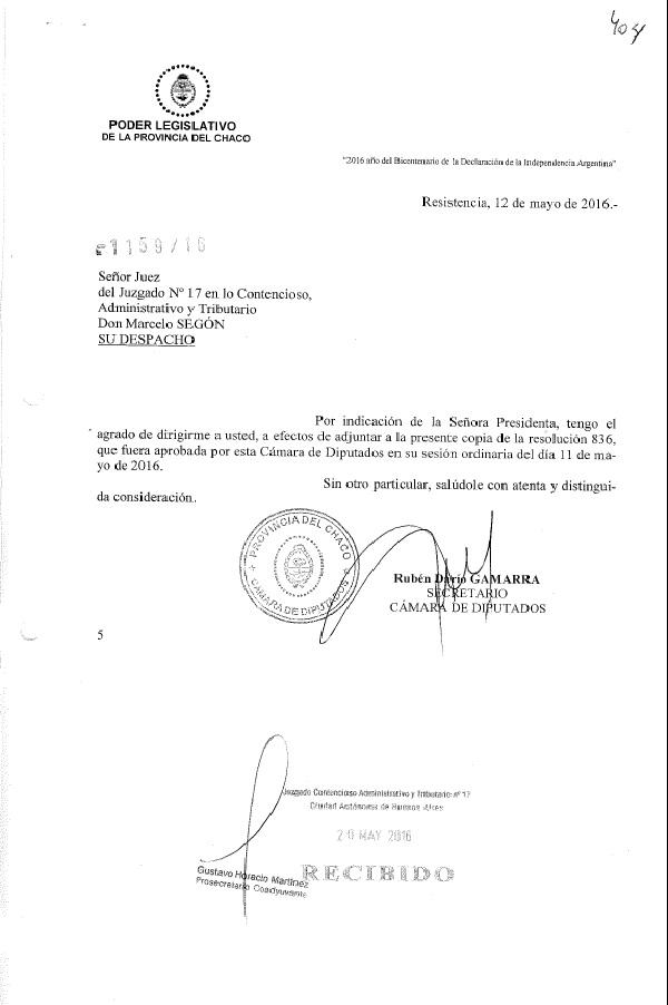 Cámara de Diputados del Chaco Nota