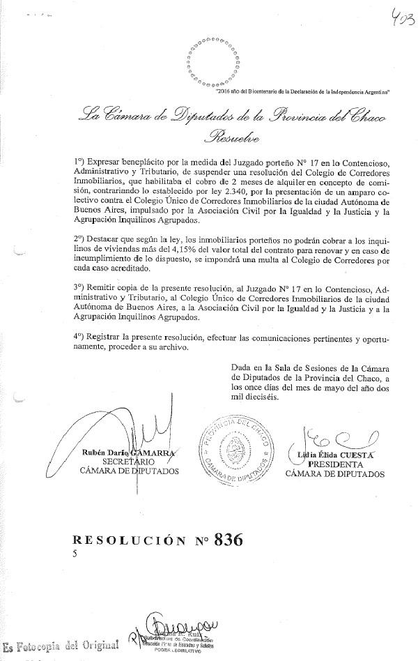Cámara de Diputados del Chaco Resolución